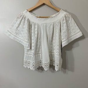 Lovers+Friends white lace eyelet Off Shoulder Top